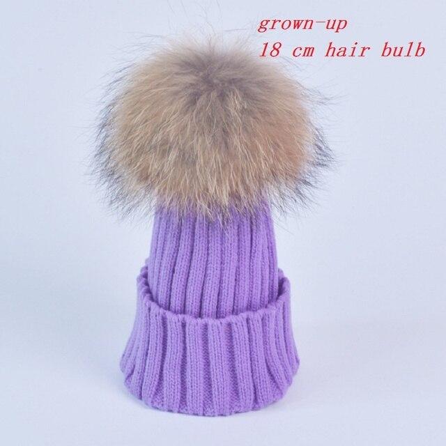 18 cm hair bulb Winter knitted hat beanies 100% real mink fur poms skullies female hat for women girls hat mixing wool hats Z007