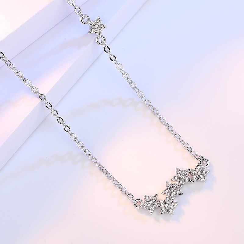 Eleganckie kobiety Chokers chiny naszyjnik moda 925 Sterling Silver pięć gwiazdek cyrkon wisiorki naszyjniki komunikat biżuteria