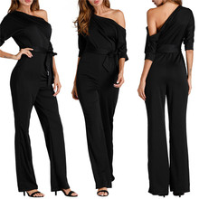 Adogirl 2017 Women Sexy Fashion Fall Romper Sashes Straight Long Body Suits Mujer Overalls Off Shoulder Short Sleeve Jump(China)