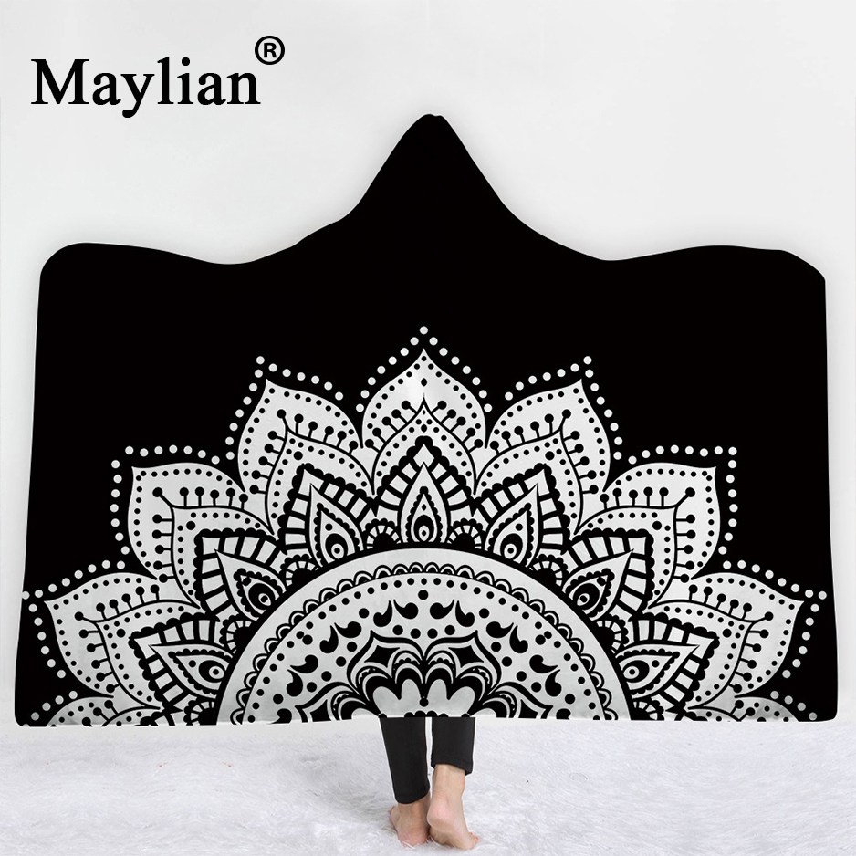 Boho Mandala Hooded Blanket for Adults Kids Floral Sherpa Fleece Lotus Wearable Throw Blanket Microfiber on Sofa Thick warm B30