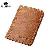 BISON DENIM Genuine Leather Wallet Vintage yellow Men's purse Cards Holder Soft Leather men purses Short Men Wallet W4361