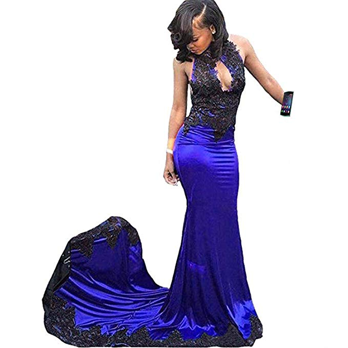 Sexy Royal Blue Halter Mermaid Lace Prom Dresses 2019 Backless Long Prom Dress Party Evening Gowns Vestido De Festa