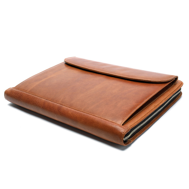 Document Organizer Genuine Leather Ipad Bag Luxury Business Briefcase Men Women's Laptop Handbag Zipper Office Case Handmade Bag