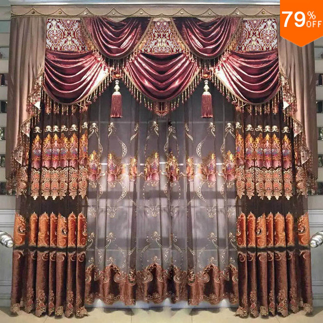 2.5 meter wide to 3 meter wide window Egypt Luxury entrance curtain of living room brown embroidery hotel curtains rich style