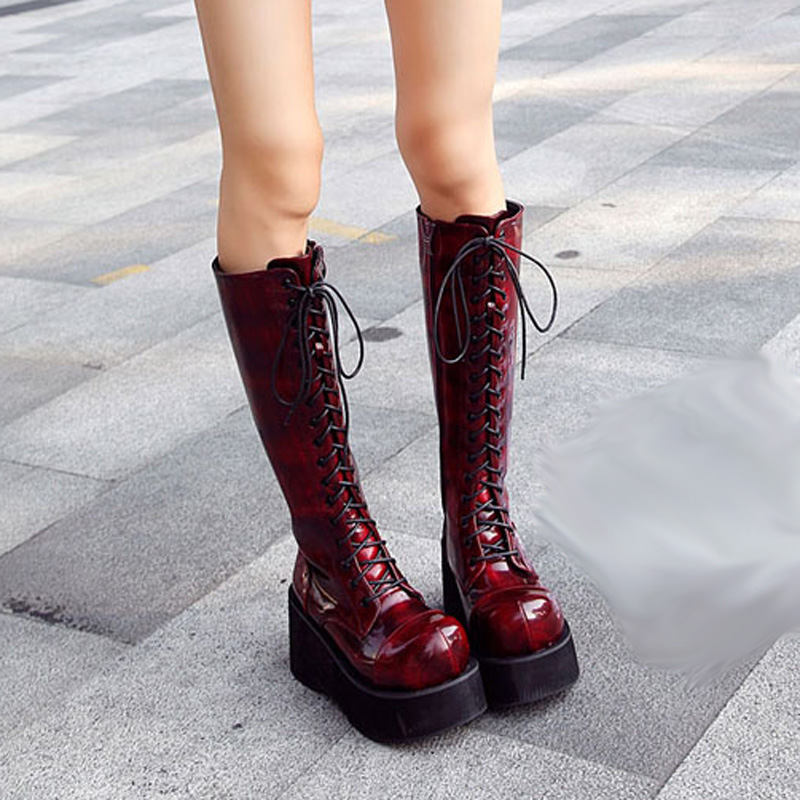 <font><b>Demoni</b></font> Style Women Boot Black Patent Leather Knee Length High Heel Boots Wedges Platform Punk Gothic Shoes Lace Up Martin Boots