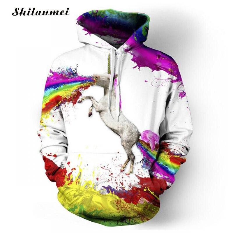 Original Design Spring Autumn Brand Men Hoodies Unicorn Print Sweatshirt Rainbow Color 3D Hoodies Couple Pullover Sweat Homme