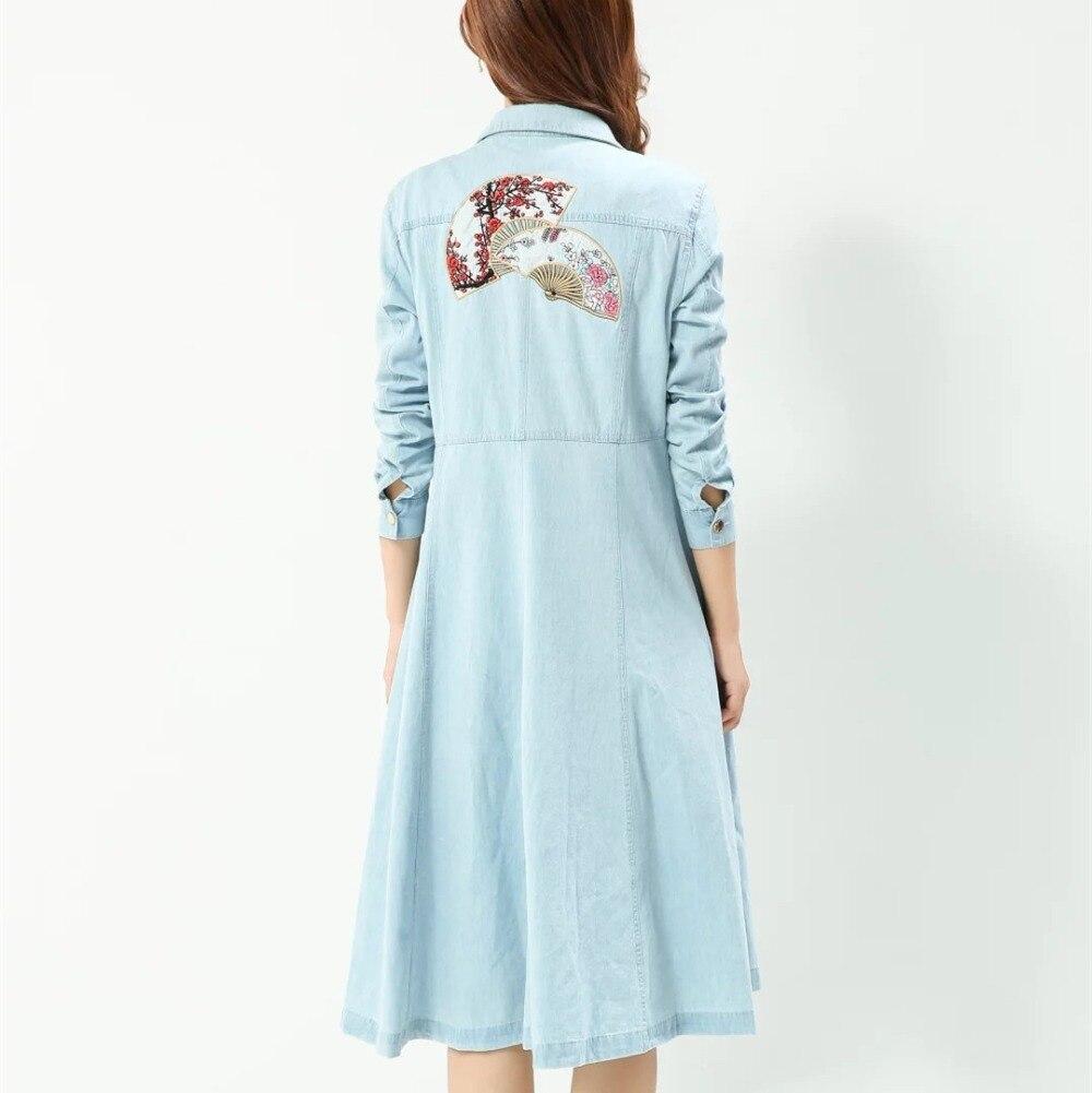2017 женщины clothing однобортный цветочные вентилятор вышивка юбка джинсовая пальто Женской моды тонкий длинные джинсы верхняя одежда X358