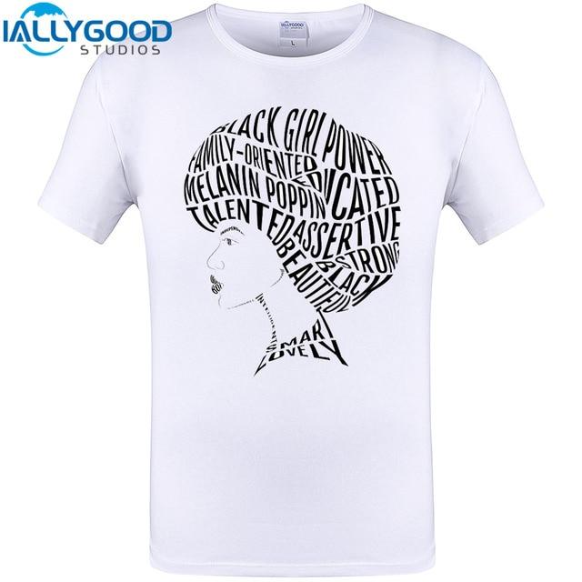Afro Hair Word Art Design Black Women T Shirt 2017 New Mens Tops Summer Short Sleeve Tee Shirts ...