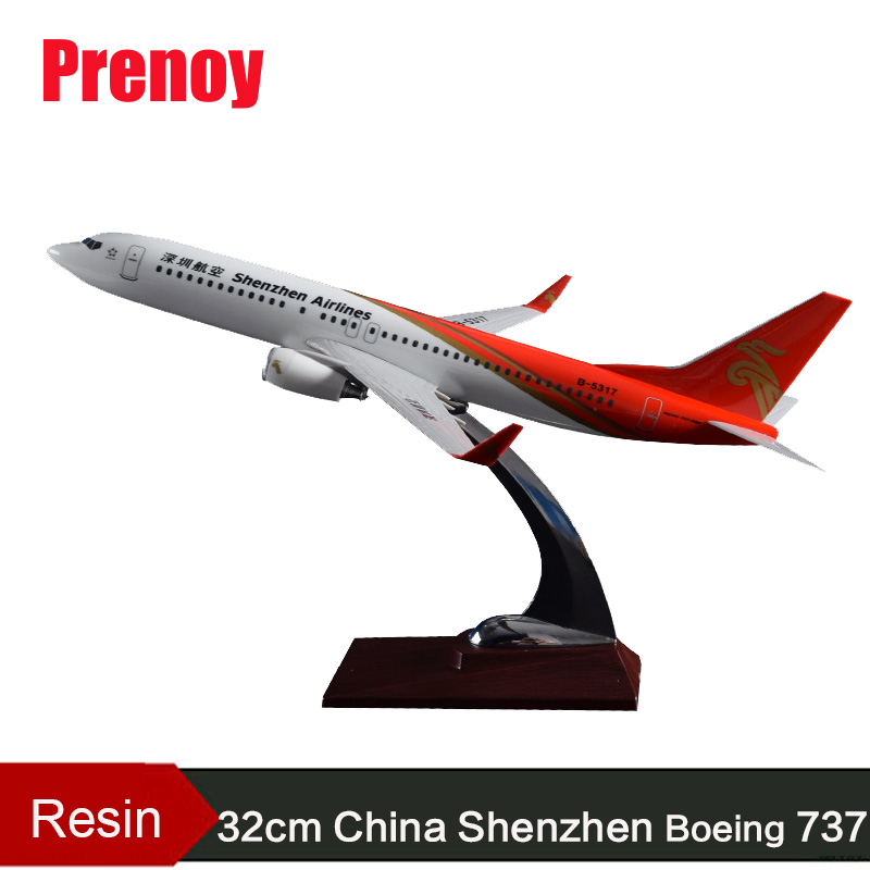 32cm Resin Aircraft Model B737 China Shenzhen Airline Aviation Model Boeing 737 Airplane Airbus Model Shenzhen Plane Stand Craft geminijets gjdlh1326 b737 300 d abee 1 400 lufthansa commercial jetliners plane model hobby