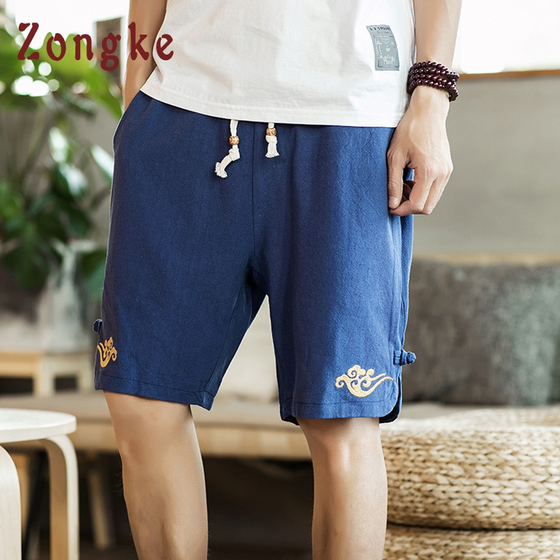 Men's Clothing Zongke Chinese Style Embroidery Summer Cotton Shorts Men Streetwear Mens Shorts Summer Clothing Men Shorts Cotton 2019 New Good For Energy And The Spleen
