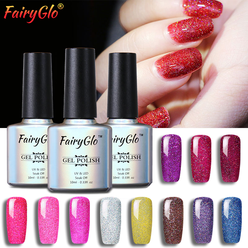 FairyGlo 10ML Neon Glitter Bling Gel Nail Polish UV LED Lamp Gel ...