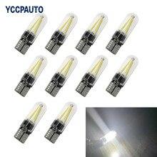 Luzes led t10 w5w 194, auto leitura, domo, lâmpada de filamento drl, concha de vidro, estilo do carro 10 luz de carro 12v cob 10 peças