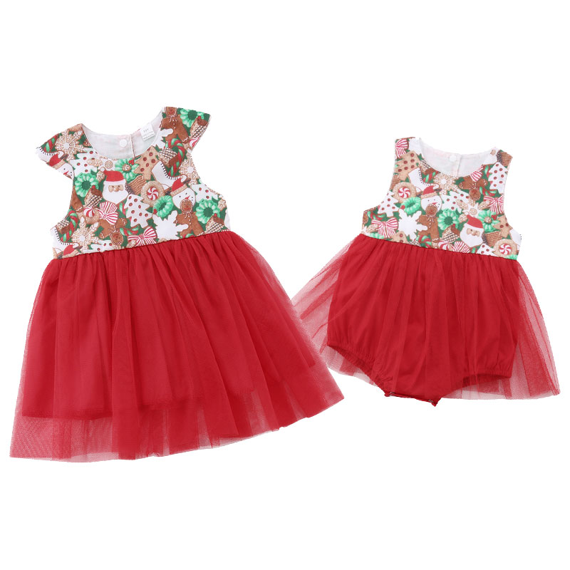 Christmas Family Matching Clothing Big Sister Tulle Party Festival Dress Little Sister Lace Rompers Princess Girl Dresses