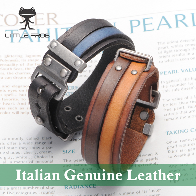 LITTLE FROG Italian Genuine Leather Cuff Double Wide Bracele Brown For Men Fashion Bracelet Unisex Jewelry PG013