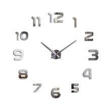 2018 Digital Wall Sticker 3D Diy Clock Mirror Fashion Mute New Black Color Wedding Gift Free Shipping