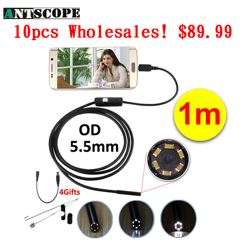 Antscope Wholesale 10pcs 5.5mm Android Endoscope Camera 1M Waterproof Snake Pipe Inspection OTG Android Phone Borescope Camera antscope wholesale 10pcs 7mm lens android endoscope camera 1m waterproof snake tube usb borescope camera endoskop android phone