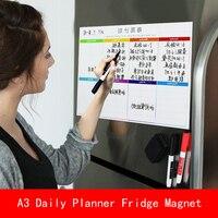 A3 30*40 cm Imã Calendário Magnético Seca Apagar Bordo Para-Fazer Lista Semanal Organizador Planejador Diário com caneta Erase