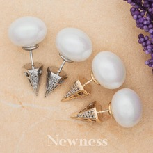 Newness Brand Fashion White Gold Color Crown Shape Round CC Crystals Women Pearl Earrings With Zircons