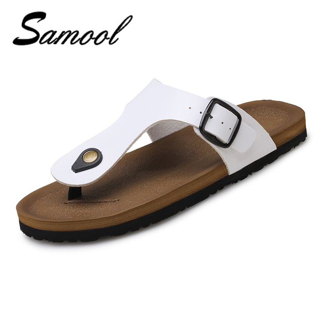 d262df378a21fa Samool Summer Luxury Brand New Men s Flip Flops Pu Leather Slippers With  Buckle Strap Fashion Beach Sandals Shoes For Men SX6