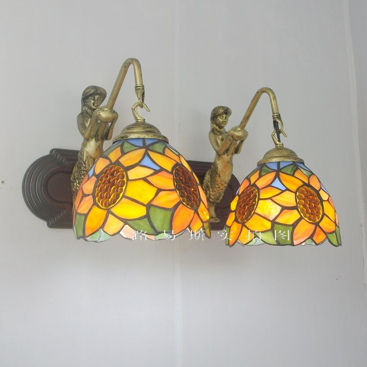 Américain Double Tournesol sirène mur lampe Tiffany miroir façade en verre couleur toile de fond antique luminaires Restaurant