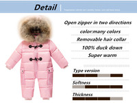 Keep warm jumpsuit kids winter baby snowsuit + nature fur , 90% duck down jacket for girls coats Winter Park for boys overalls
