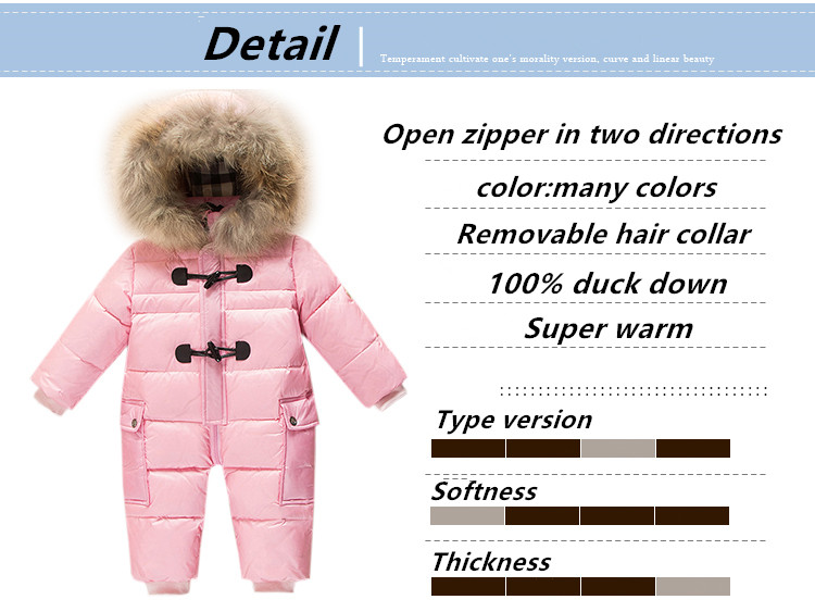 Keep warm jumpsuit kids winter baby snowsuit + nature fur , 90% duck down jacket for girls coats Winter Park for boys overalls new 2017 russia winter boys clothing warm jacket for kids thick coats high quality overalls for boy down