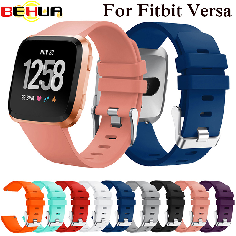 Wrist Strap For Fitbit Versa Smart Watch Band Strap Soft Silicone Watchband Replacement Wristband Bracelet S/L Size 10 Colors