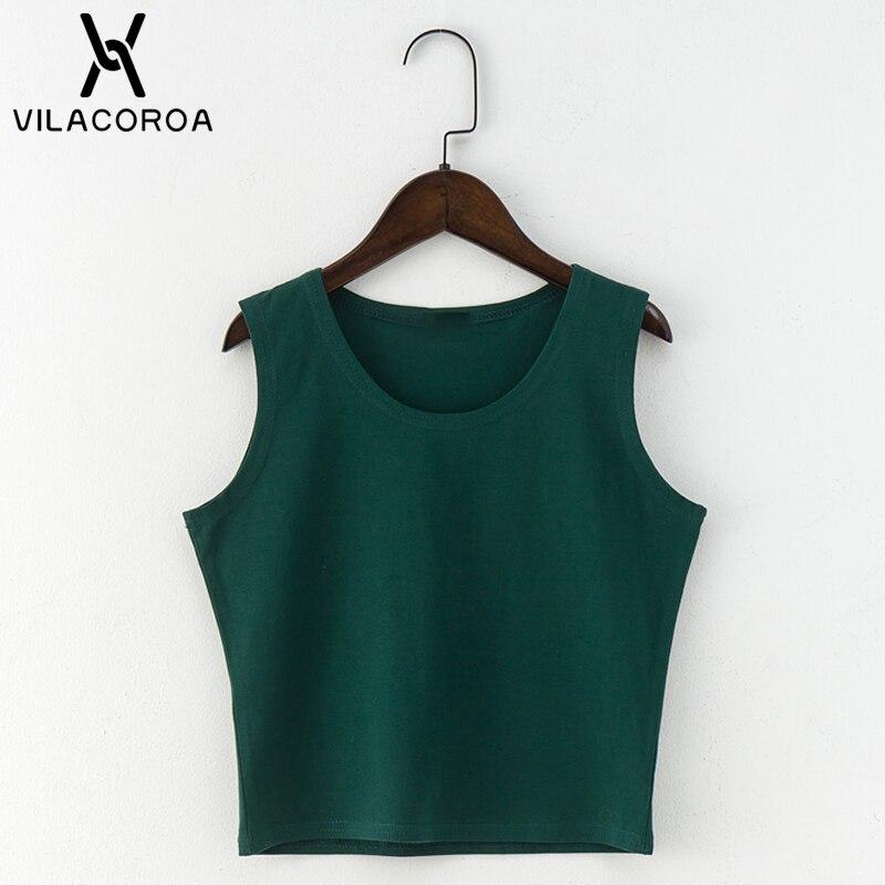Czarny okrągły dekolt bez rękawów Harajuku damski T-shirt bawełniany crop top koszula damska dziewczyny Lady Tee topy Streetwear Camiseta Mujer 4
