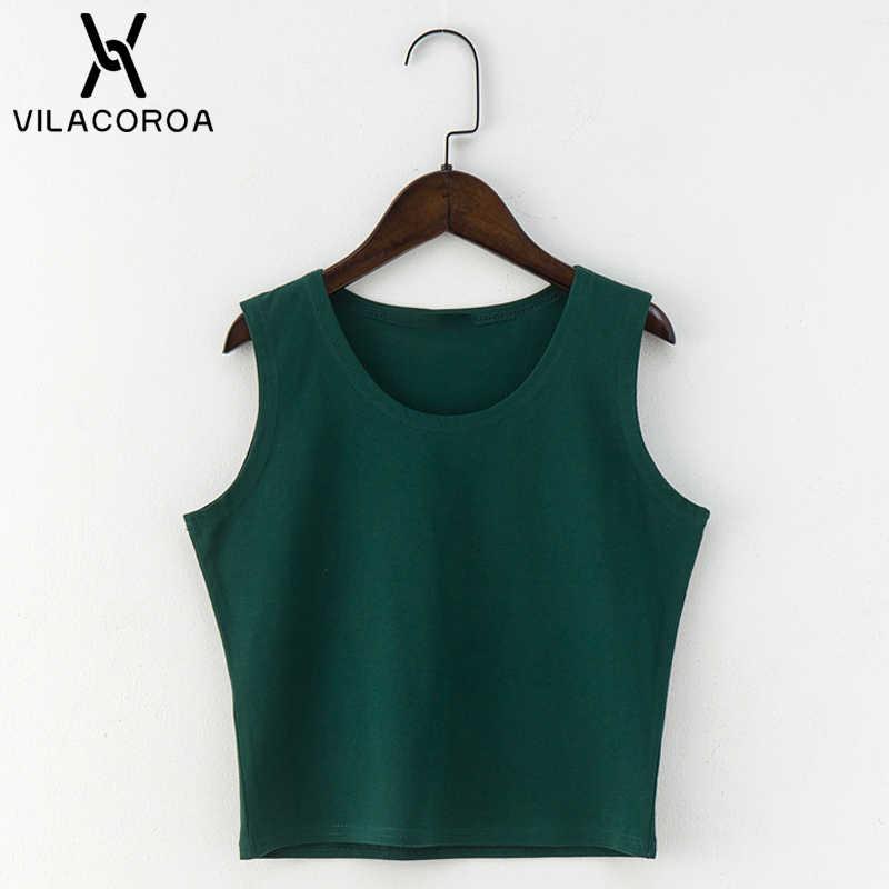7 цветов модная футболка с круглым вырезом Женская летняя сексуальная без рукавов с высокой талией укороченный топ хлопковая Нижняя футболка женская уличная