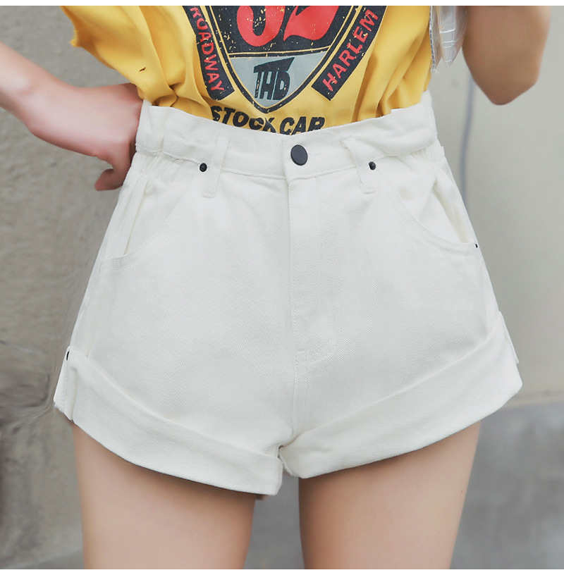 HTB1CpZZPhYaK1RjSZFnq6y80pXaY - Streamgirl Denim Shorts Women's White Women Short Jeans Khaki Wide Leg Elastic Waist Vintage High Waist Shorts Women Summer