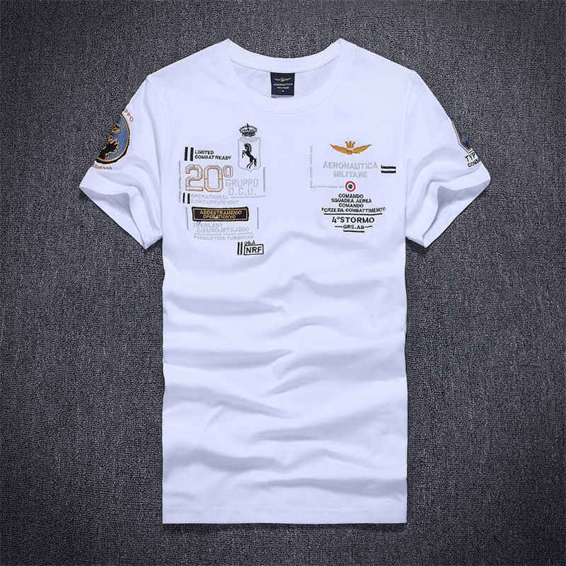 2018 NEW Air Force One Boutique Embroidery T-shirts Aeronautica Militare Men's Short-sleeved T-shirt Brand Men Slim T-Shirt