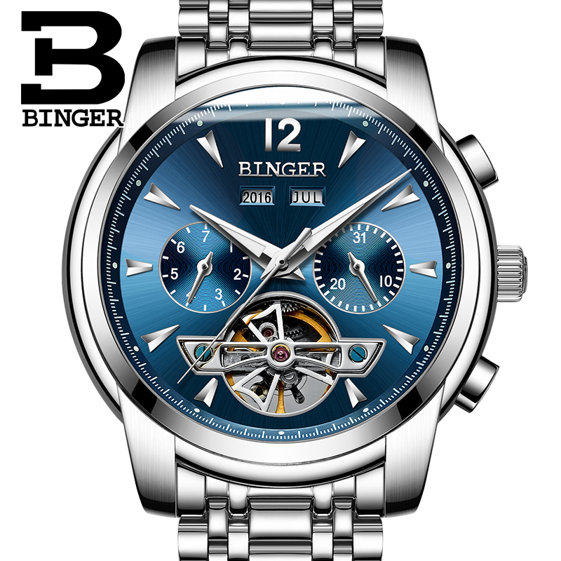 BINGER Brand Luxury Sport Watch Mens Automatic Skeleton Mechanical Wristwatches Fashion Casual Stainless Steel Relogio Masculino