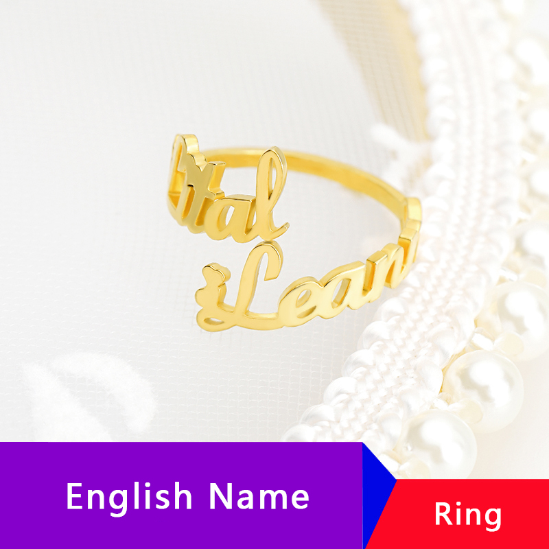 Personalized Adjustable Double Name Couple Rings For Woman Custom Ring Anillos Stainless Steel Jewelry Accessories