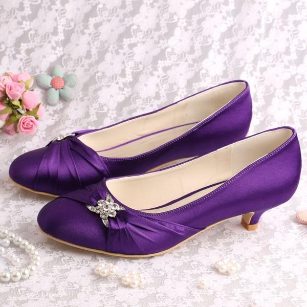 ФОТО (20 Colors)Hot Selling Beautiful Bridal Low Heel Wedding Evening Shoes Purple Satin Size 39