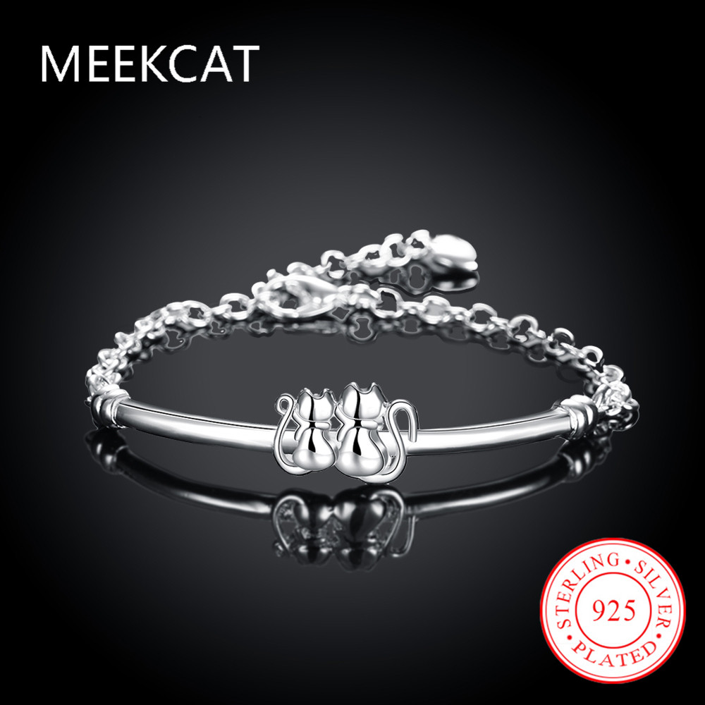 Wholesale! Fashion Silver Jewelry couple cat Bracelet,925 Jewelry Silver Plated Bracelet With Double Cat Bracelet 8 Inch