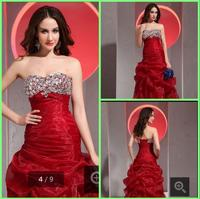 Fancy 2016 beading Sweetheart neck prom Dress Lace Up pick ups Crystal prom gowns Red Organza pick ups Prom Dresses