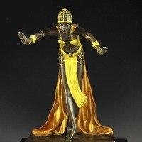 Frete grátis em miniatura estatuetas de bronze escultura de arte do dançarino de solteira trecho presentes figurinhas estátuas Decoração Da Casa por atacado