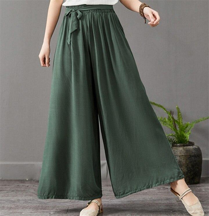 2020 Women's Summer Casual Bohemian Wide Leg Pants Plus Size M- 6XL 7XL Thin Cotton Linen Trousers Fashion Skirts Pants
