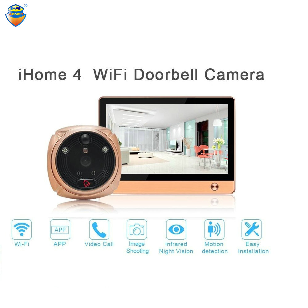 (1 Set) The Newest Wifi/Wireless Peephole Doorbell with Camera Door Viewer 7 LCD Display+Movement Detect+IR Night Vision-in Video Intercom from Security & Protection