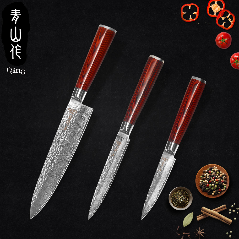 QING Marque Sharp VG10 Damas Couteaux 3.5 Fruits 5 Utilitaire 8 Chef Couteau Sans Distorsion Manche En Bois 3-pièces Ensembles Cuisine Outils