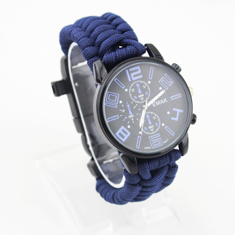 EMAK Outdoor Camping Survival Watch Multi functional Waterproof Compass Rescue Rope Paracord Bracelet Equipment Tool in Safety Survival from Sports Entertainment