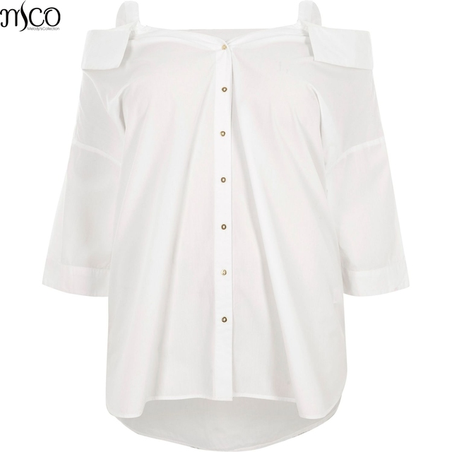 MCO Autumn Sexy Cold Off Shoulder Plus Size Women Top Simple Oversized Long  White Shirt Ulitmate Easy Ladies Big Blouse 6xl 7xl 07fdaef0af19