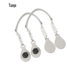 f03174e818db TANQU 1 par de mango de cadena de PU de cuero largo con extremo de gota de  lágrima cadena de Metal doble para bolsa O para EVA .
