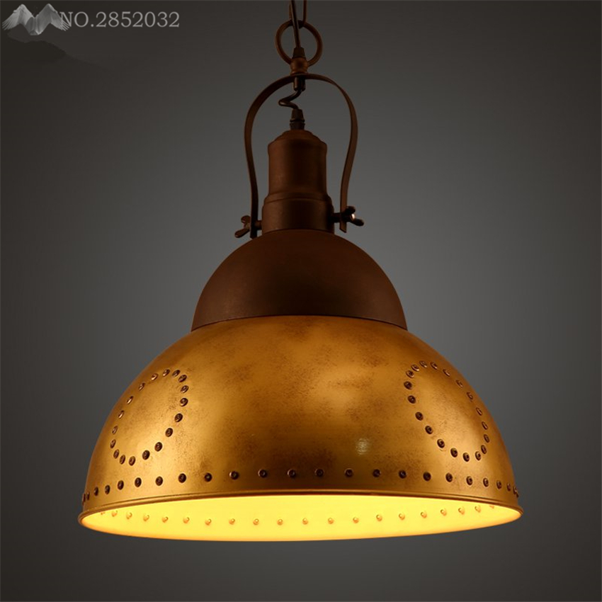 Industrial Caged Pendant With Rivets: JW_Loft Nortic Vintage Industrial Iron Pendant Lamp Gold