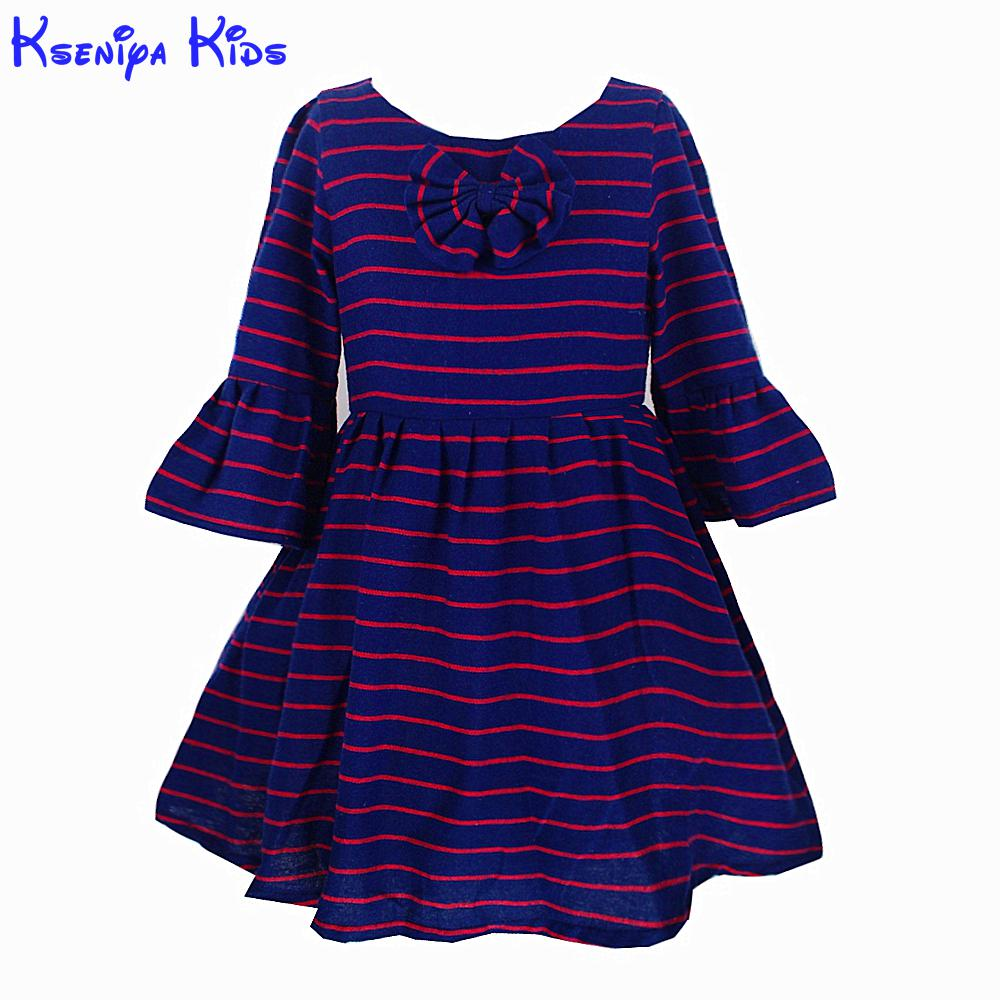 New Arrival Cotton Lining Striped Girl Dress Puff Sleeve Bow Kids Dresses For Birthday Party 2-10 Years Girls Kids Gown Dresses
