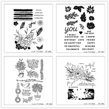 ZhuoAng Flowers and Leaves Transparent Clear Stamp for Scrapbooking Rubber Seal Paper Craft Stamps Card Making