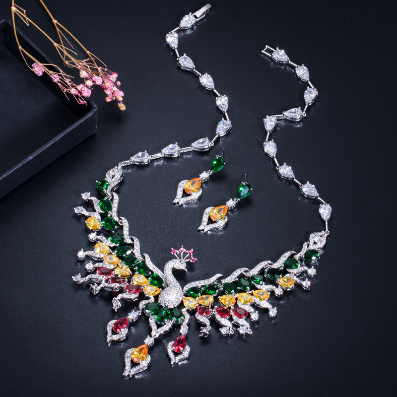 Luxury Big Peacock Choker Necklace Earrings Set