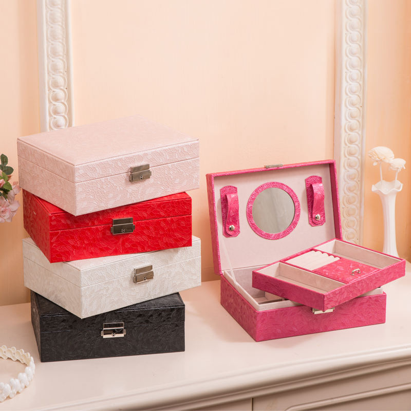 ФОТО free shipping 23*17.5*8.5cm white/black/mei red/red/light pink high grade PU double layer jewelry storage box
