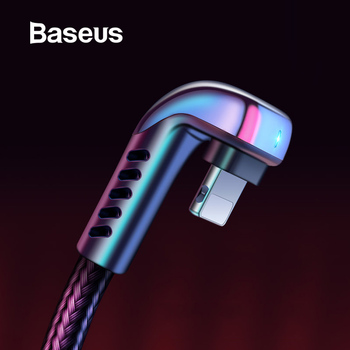 Baseus for USB Cable for iPhone Xs Max XR 2.4A Elbow Green LED Fast Charging Cable for iPhone X 8 7 6 6s Plus IOS Data Cable