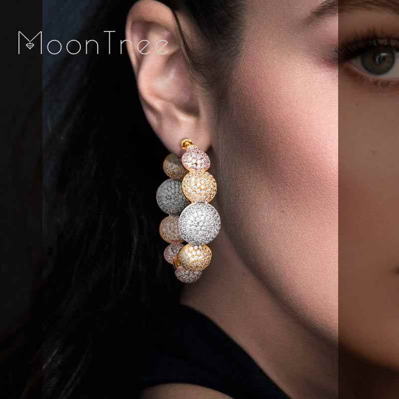 MoonTree Classic Luxurious Circles Shape Super AAA Cubic Zirconia Three Colors Copper Big Wide Circle Earrings Bijoux